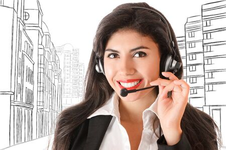 call centre girl: Young woman with headphones looking to camera against abstract sketch of city street Stock Photo