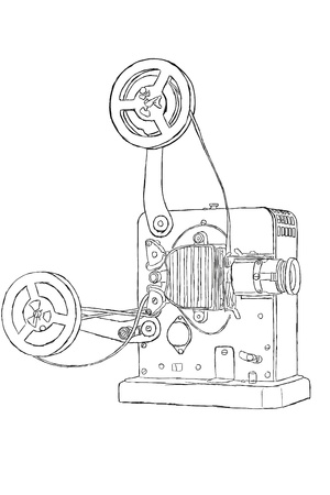 cinematograph: Sketch of vintage projector with film tape Stock Photo