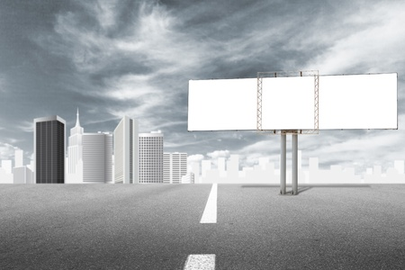 billboard advertising: Billboard advertising panel and abstract cityscape behind low vibrance style Stock Photo