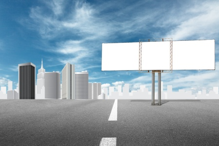 Billboard advertising panel and abstract cityscape behind