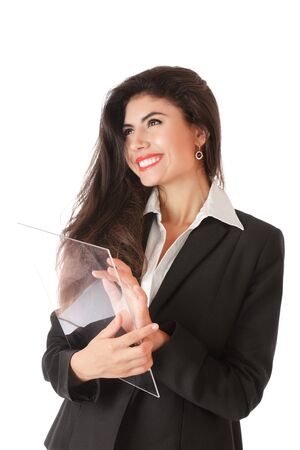 Young serious businesswoman working on modern touch screen Stock Photo - 11075023