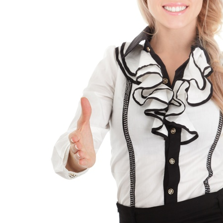Closeup of businesswoman holding out open hand for handshake Stock Photo - 11498343