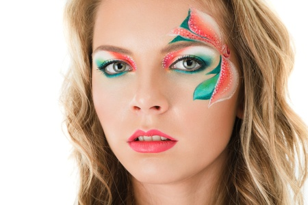 Young blonde woman with creative floral make-up Stock Photo - 11498379