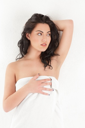 girl with towel: Beautiful young asian woman in white towel Stock Photo