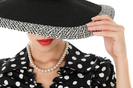 pearl necklace: Beautiful young woman in sun hat retro style portrait Stock Photo