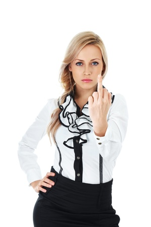 Angry businesswoman  showing middle finger on white background photo