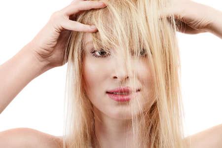 wild hair: Sexy giovane ragazza bionda con i capelli lunghi selvaggi Archivio Fotografico