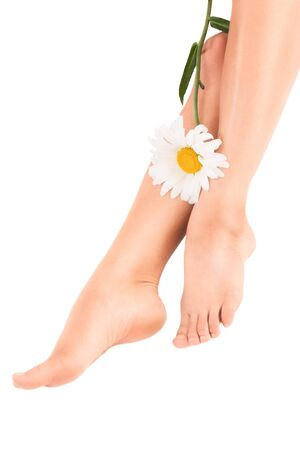 Sexy healthy female legs with flower isolated over white background photo