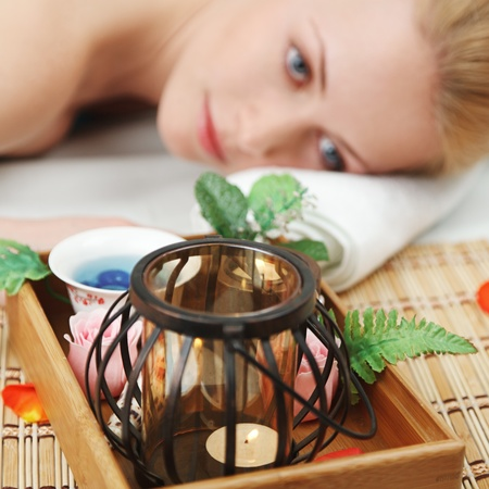 Young blonde woman relaxing in SPA Stock Photo - 12773956