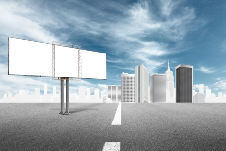 way bill: Billboard advertising panel and abstract cityscape behind