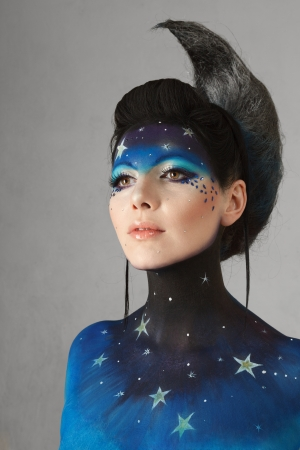 bodypaint: Young fashion model with fantasy moon make-up