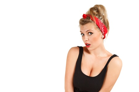 pinup: Surprised classic pin-up girl Stock Photo