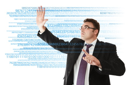 Businessman working with digital data on virtual touch screen Stock Photo - 13825977