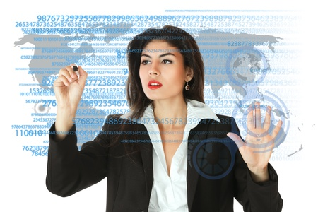 Young serious businesswoman working on modern touch screen Stock Photo - 13943298