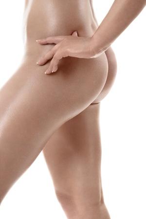 culo di donna: Bella anche sexy femminile isolato su sfondo bianco