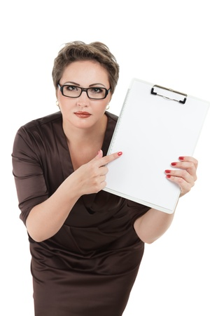 beautiful business woman with clipboard isolated on white background photo