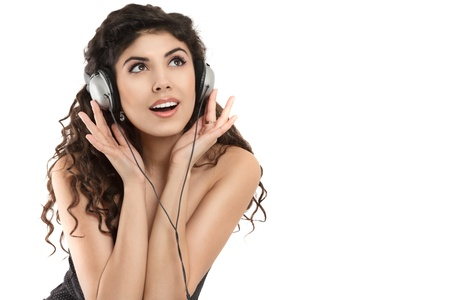 sexy headphones: Young woman with headphone listening music