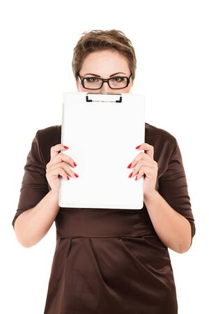 Young business woman holding empty white board studio isolated photo