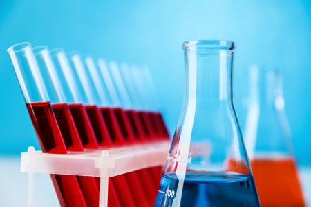 retort: Laboratory glassware with chemistry probe against blue background