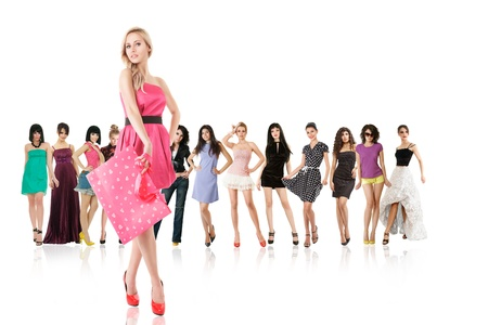 Large group of young women and one against other isolated over white background