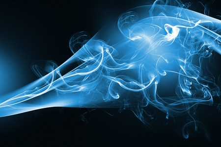 blue flames: Blue abstract smoke design on black background Stock Photo