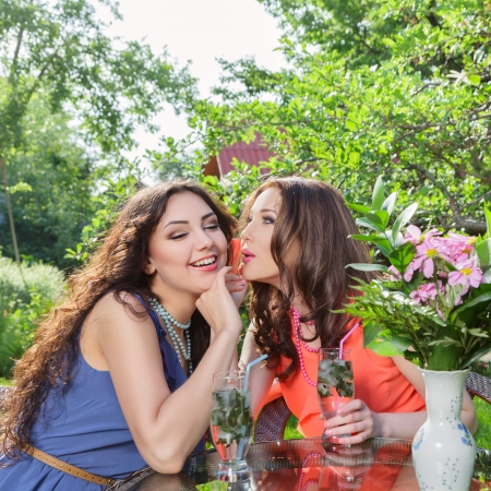 Two beautiful women drinking soda water and chatting at blossom garden photo