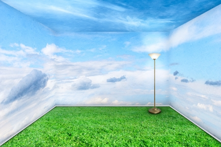 alternative living: Green room interior with grass floor and sky walls clouds Stock Photo