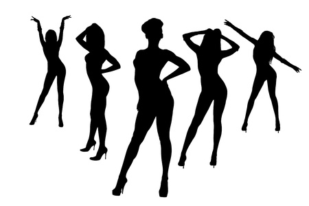sexy dancer: Set of abstract dancing women silhouette isolated on white background Stock Photo