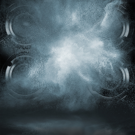 Abstract concept of powerful audio speakers blast out a cloud of dust against dark background