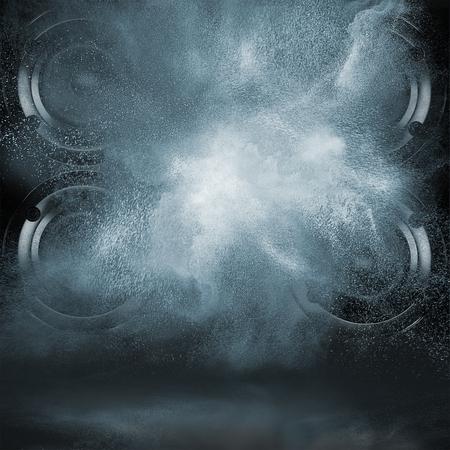 Concepto abstracto de potentes altavoces de audio explosión fuera una nube de polvo contra el fondo oscuro