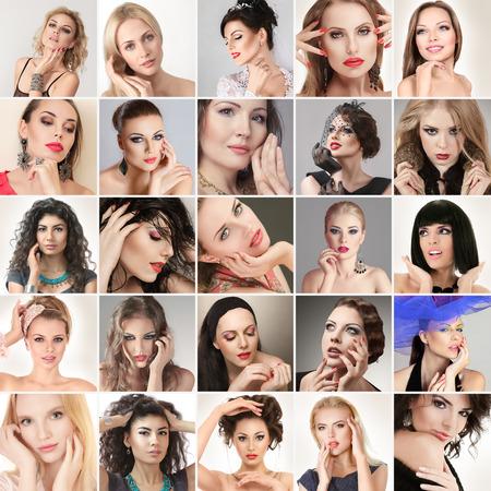 retrato de mujer: Compuesto de Digitaces de caras diferentes mujeres j�venes moda glamour