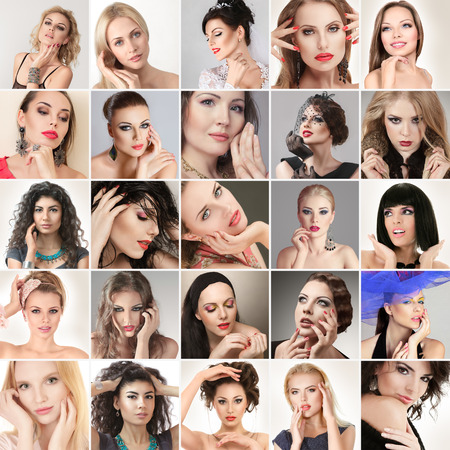 Digital composite of faces different fashion glamour young women