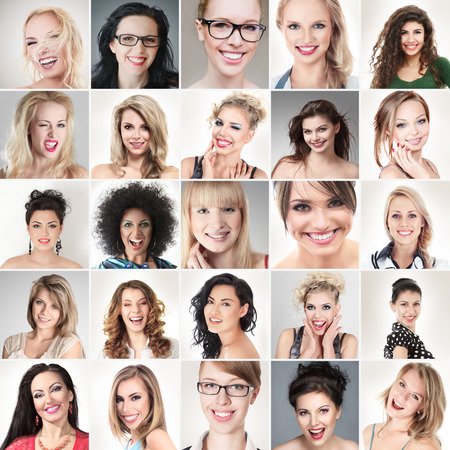 Digital composite of faces different happy smiling young people