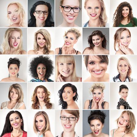 Digital-Zusammensetzung der verschiedenen Gesichter glücklich lächelnde junge Menschen