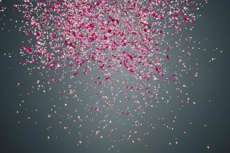 Pink flower petals failing down on dark background