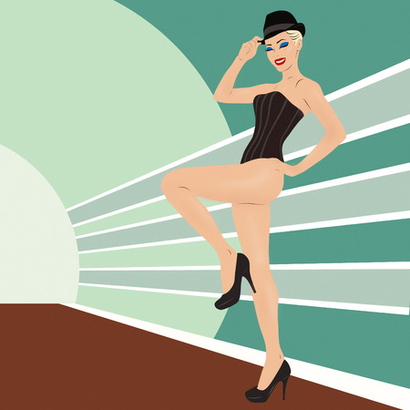 Retro style beautiful young cabaret dancer drawing