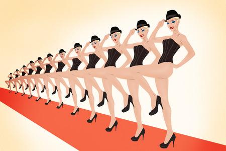 Retro stijl mooie jonge cabaretdanser groep tekening