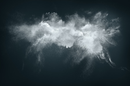 fantasy art: Abstract design of white powder cloud against dark background