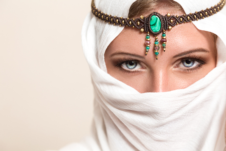 arab model: Portrait of young beautiful woman arabic style fashion look Stock Photo