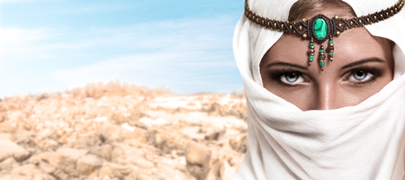 beautiful indian girl face: Portrait of young beautiful woman arabic style fashion look Stock Photo