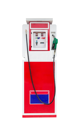 refuel: Automatic gas refuel station isolated on white background Stock Photo