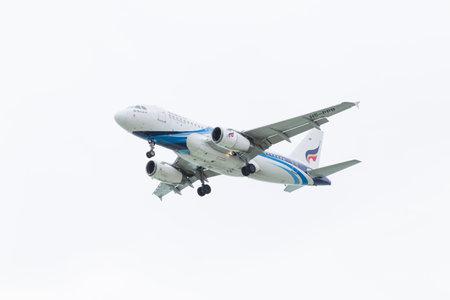KOH SAMUI, THAILAND - Jule 23: Bangkok Airways Airbus A319 (HS-PPB) landing on Jule 23, 2014 at Koh Samui International Airport, Koh Samui, Thailand.