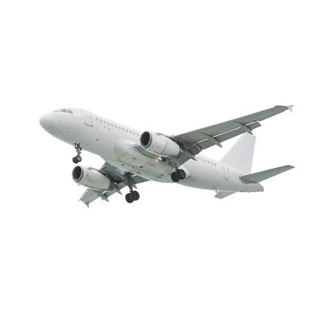 白い背景上に分離されて商業定期旅客機の着陸