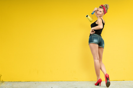 Young classic pin-up woman painting wall with paint roller Stockfoto