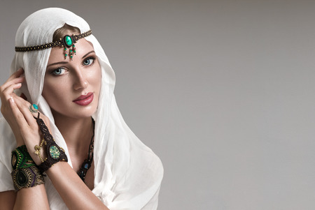 Portrait of young beautiful woman arabic style fashion look Stock Photo