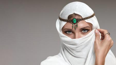 arab hijab: Portrait of young beautiful woman arabic style fashion look Stock Photo