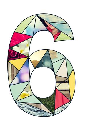 number 6: Set of mosaic digits font. Symbol 6 design