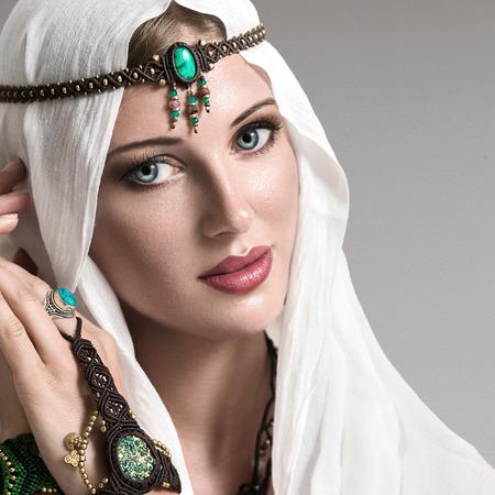 arabic woman: Portrait of young beautiful woman arabic style fashion look Stock Photo