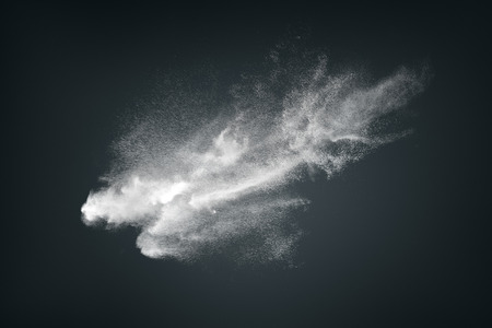 explode: Abstract design of white powder cloud against dark background