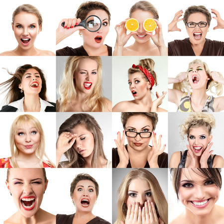 Collage of faces with different emotions. Collection of beautiful woman portraits